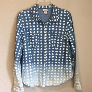 Mossimo heart dip dyed chambray denim shirt